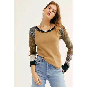 Free People Bright Side Thermal XS Patchwork Camo